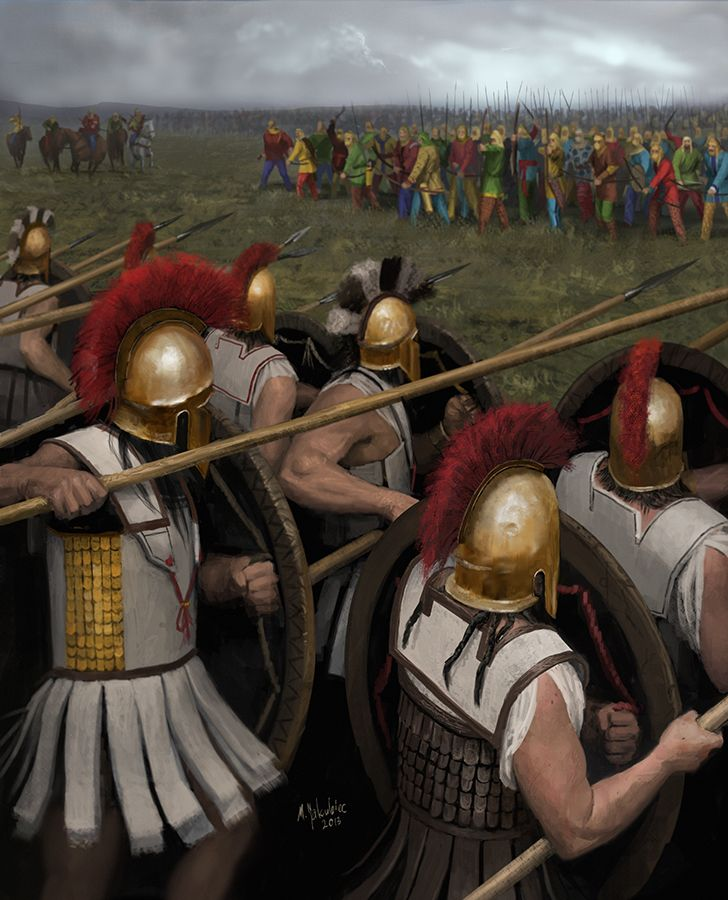"""Battle of Platae by EthicallyChallenged ..in which the brave Greek hoplites face their enemy - a fruit salad. Painted for the """"Henchmen of Ares"""" book about Ancient Greek warfare."""