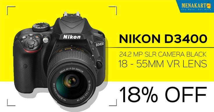 Buy Nikon D3400 - 24.2 MP SLR Camera Black Online #Cameras #Online #Shopping #Menakart #DSLR #Digitalcameras #Cameralenses