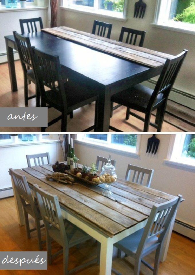 antes y después de una mesa de comedor