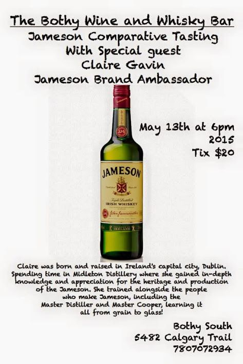 The Bothy Wine & Whisky Bar is pleased to present the Jameson Comparative Tasting event with special guest Claire Gavin the Jameson Brand Ambassador.