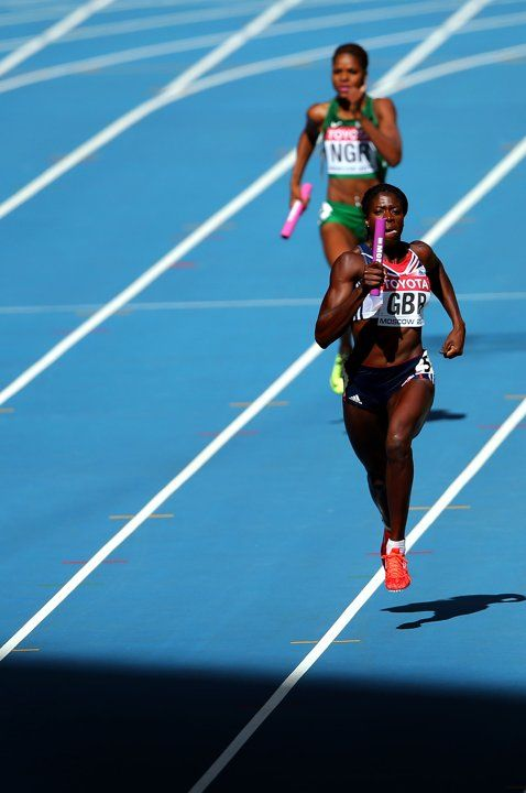 Great Britain's Christine Ohuruogu runs the final leg in their 4x400metre relay heat during day seven of the 2013 IAAF World Athletics Championships at the Luzhniki Stadium in Moscow, Russia.