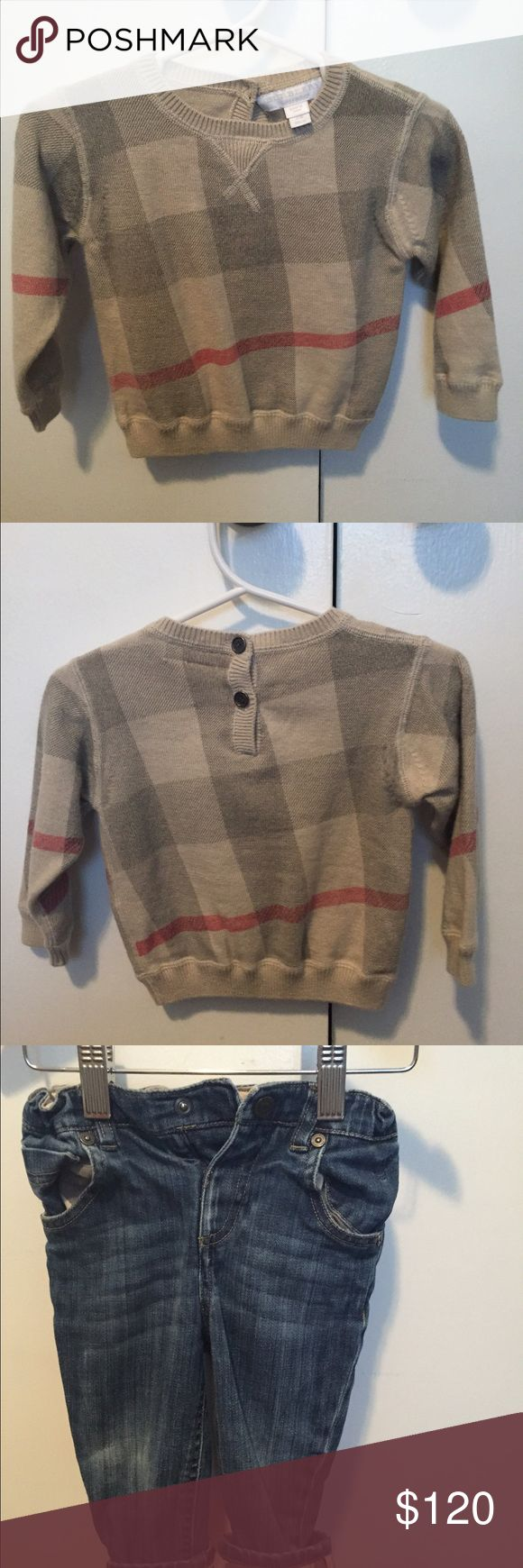 Final price drop! Burberry sweater and jeans Classic boys Burberry sweater and jeans. Jeans worn just a few times and has some wear and tear on knees from crawling infant. Sweater worn once or twice and has no flaws. Burberry Matching Sets