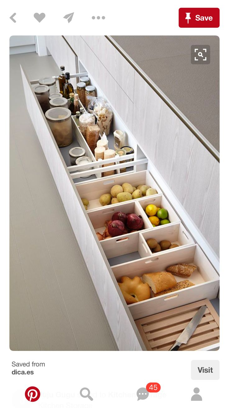 kitchen drawers used as pantry storage for baked products and produce
