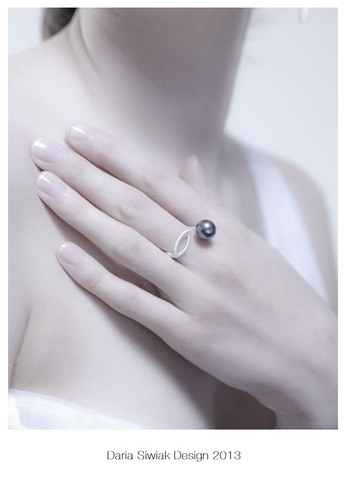 simple modern silver ring with Swarovski dark grey pearl, my favorite photo, delicate hand..