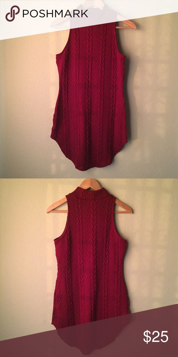 Dark Red Curve Hem Knit Dress Super cute and sexy! Goes great with over the knee boots and a beanie! Perfect winter/fall wear Dresses Mini