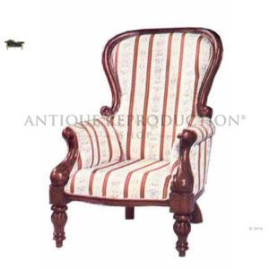 Flute Leg Grandfather Chair Antique Reproduction