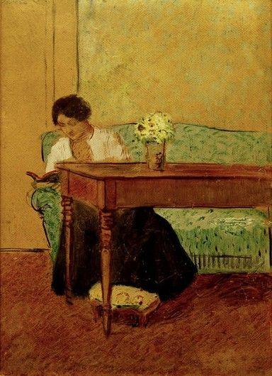 MACKE-August- Élisabeth on a green sofa, reading, 1908, 22 x 16 cm, huile et crayon sur carton