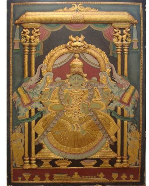 Antique Gajalakshmi See more varieties at https://www.madhurya.com/tanjore-paintings/lakshmi.html #tanjorepaintings #lakshmipaintings