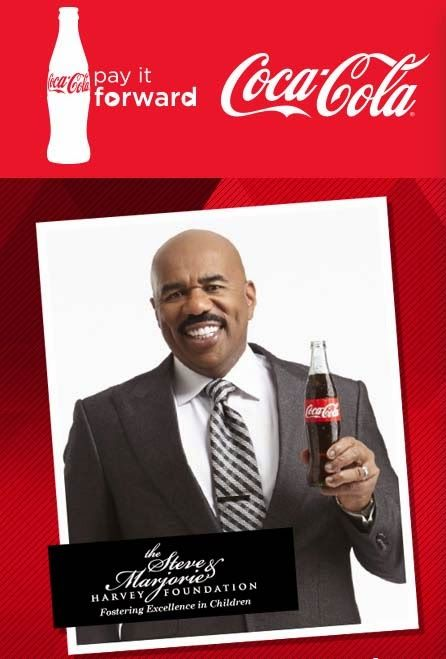 Coca-Cola Pay It Forward Scholarship Program. Coca-Cola and Steve Harvey Partner to Motivate Moms and Teens through the New Coca-Cola Pay It Forward Academy.
