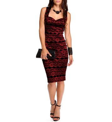 Black/Red Sleeveless Lace Midi Dress
