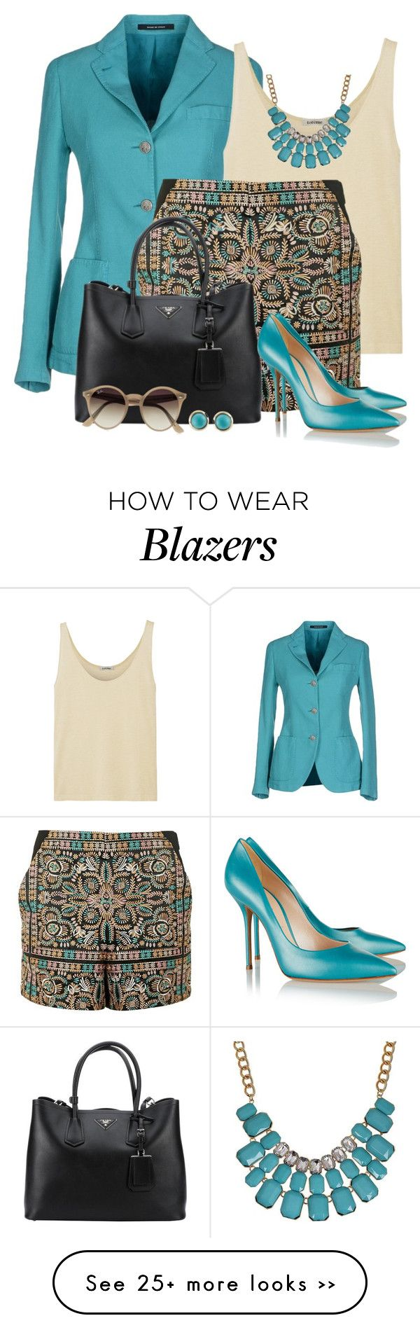 """High Wasted Shorts and Blazer"" by brendariley-1 on Polyvore featuring Tagliatore, Totême, Topshop, Prada, Casadei, Ray-Ban and Laura Lee"