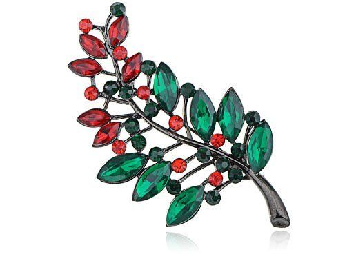 Merry Christmas Holly Leaf Branch Crystal Rhinestone Fashion Jewelry Pin Brooch Alilang. $9.99. Save 23% Off!