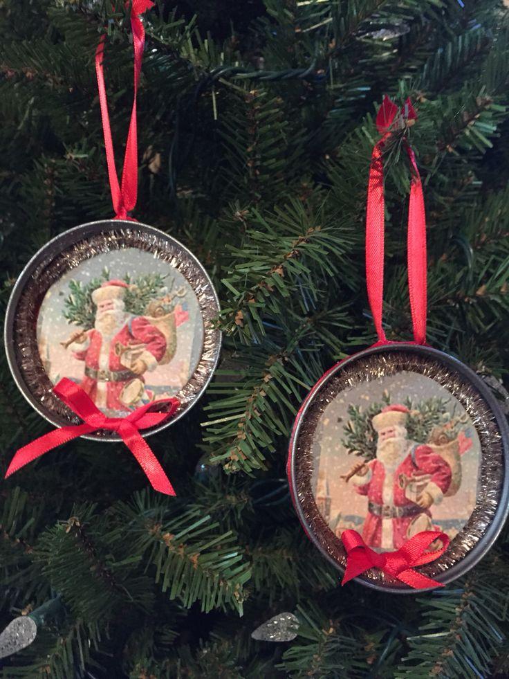 Canning jar lids for Santa ornaments