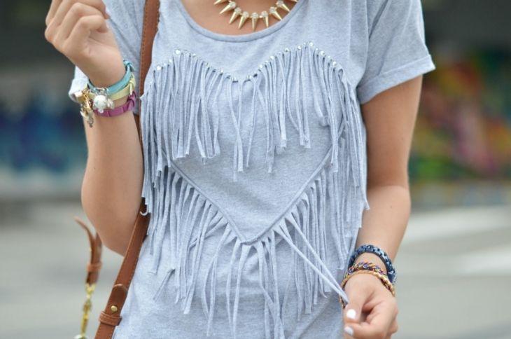 Fringe heart t-shirt.