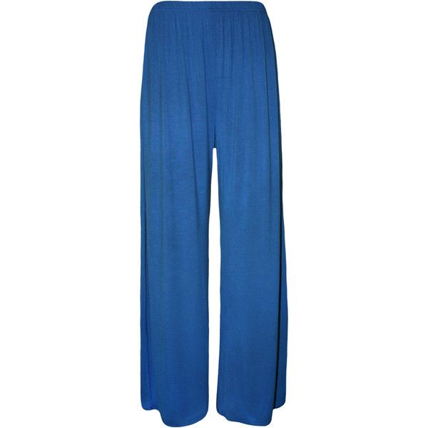 Taliyah Wide Leg Palazzo Trousers (145 ARS) ❤ liked on Polyvore featuring pants, royal blue, palazzo pants, blue pants, elastic waistband pants, blue wide leg pants and elastic waist wide leg pants
