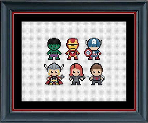 The Avengers (The Hulk, Iron Man, Captain America, Thor, Black Widow, Hawkeye) Marvel Cross Stitch Pattern by StunningCrossStitch