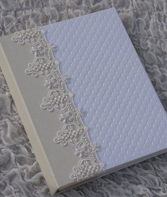White And Ivory Wedding Photo Album Beaded Lace Personalized