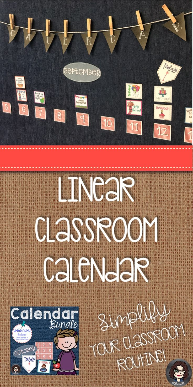 Looking for new ideas for your upper elementary classroom calendar? Rethink your calendar set-up! I switched over to a linear calendar a few years ago, and it has saved me so much time changing out my calendar each month. Click here to view the printable calendar sets in my store. Each product includes information about how I set up and organize my calendar.