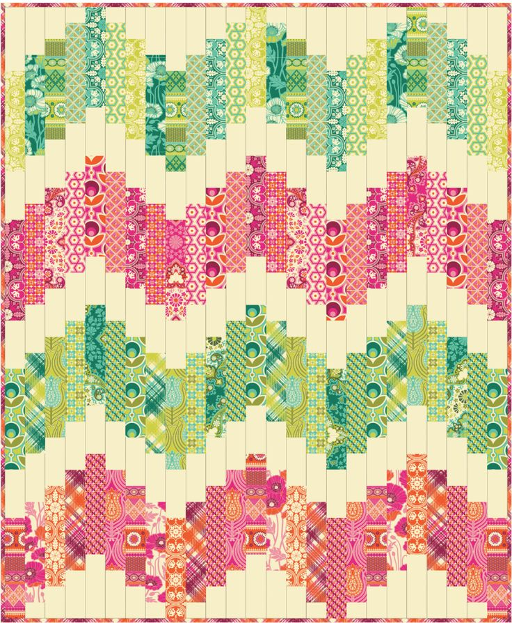 I think that the background colour here - a sort of creamy banana, makes a good alternative to white as a background colour, especially when using brights like this. (Freespirit fabric)