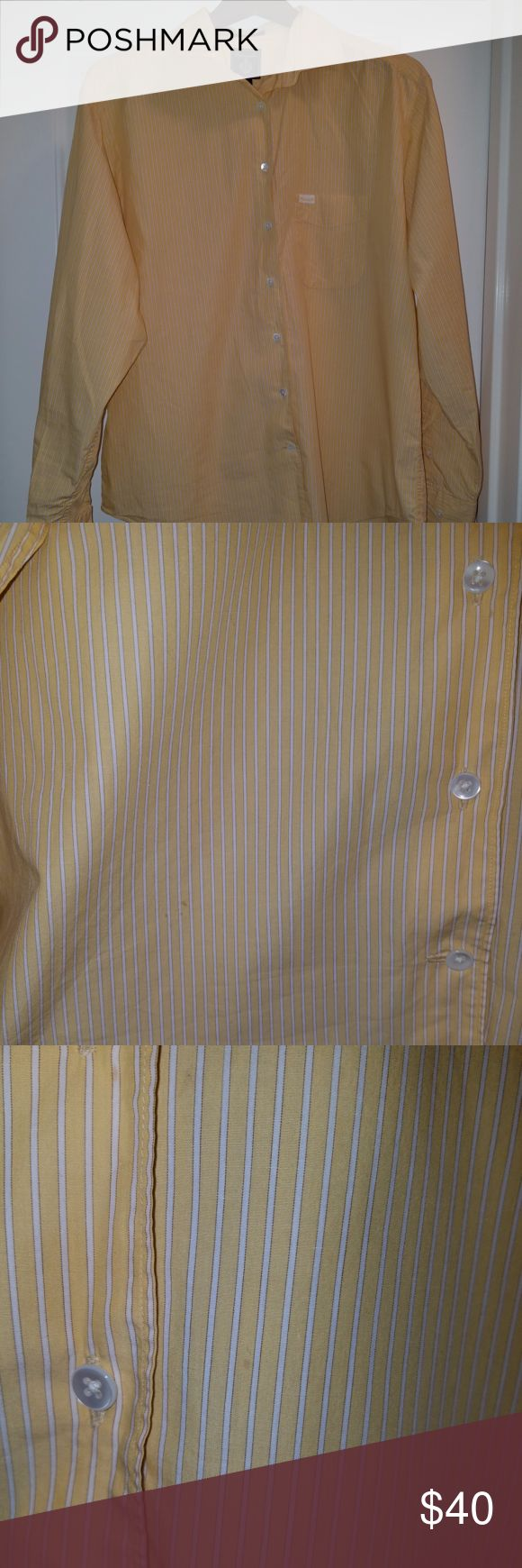 Striped Yellow Button Up Shirt Faconnable men's shirt. Designed in France and made in USA. 100% COTTON. Item is worn with a small hole in the front pocket and on the back, as well as a few small discolorations. Please see photos for details. Faconnable Shirts Dress Shirts