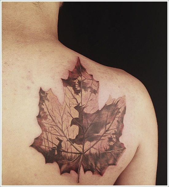 Beautiful Leaf Tattoo Designs: Maple Leaf Tattoo Design On Shoulder ~ Tattoo Design Inspiration