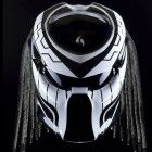 White Predator Helmet, Motorcycle Helmet DOT Approved