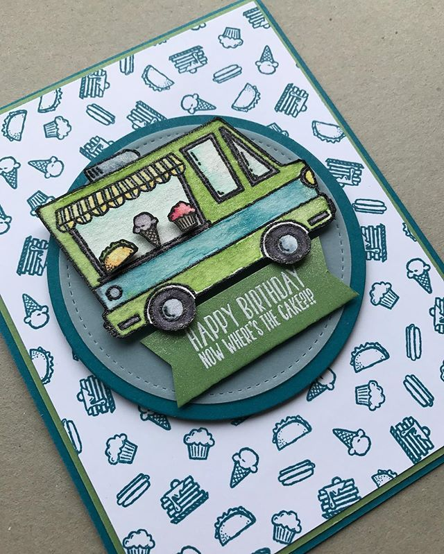 How adorable is this Sale-a-bration stamp set Tasty Trucks!?!? And guess what, I got it free!! 🤓 Deets on my blog www.thestampcycle.com #stampinup #stampinupdemonstrator #handmade #cardmaking #papercrafting #handmadekindness #occasionscatalog2017 #saleabration2017