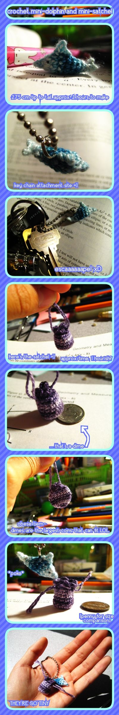mini crochet - dolphin+satchel