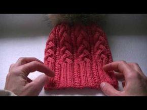 Вязание шапки с косами с 9 петель - YouTube