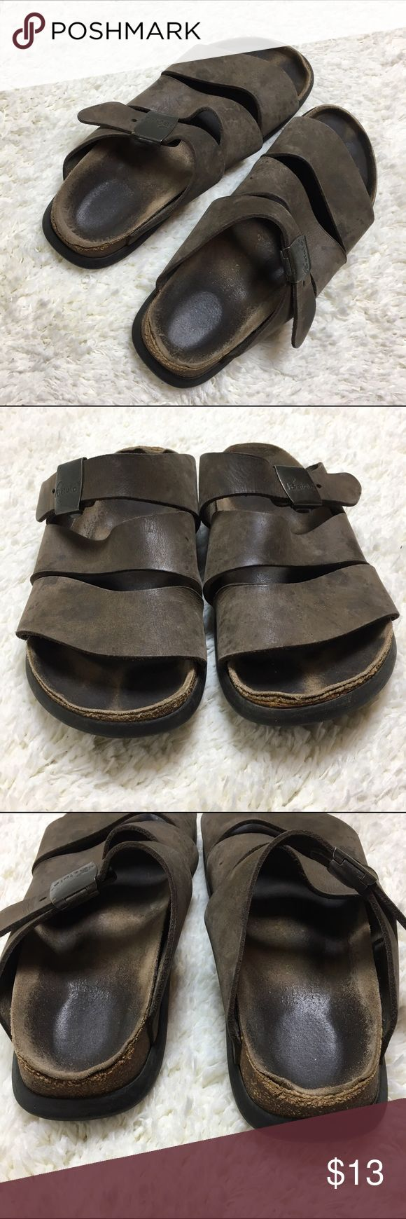 Birkenstock Betula Brown Leather Sandals Super cute and comfortable brown leather Betula sandals. Easy adjustable clip have been well worn they still have a lot of life left in them. Condition of soles is shown in photos. some staining on the leather strap is hardly noticeable since the brown color. Birkenstock Shoes Sandals