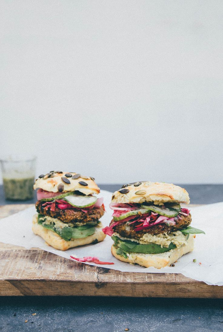 Veggie burger with dill & mustard sauce, hot pickles and artichoke cream —…