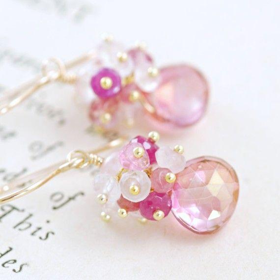 Pink Gemstone Gold Earrings October Birthstone Quartz by aubepine, $59.75
