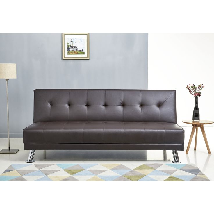 Abbyson Lexi Dark Leather Sofa Bed