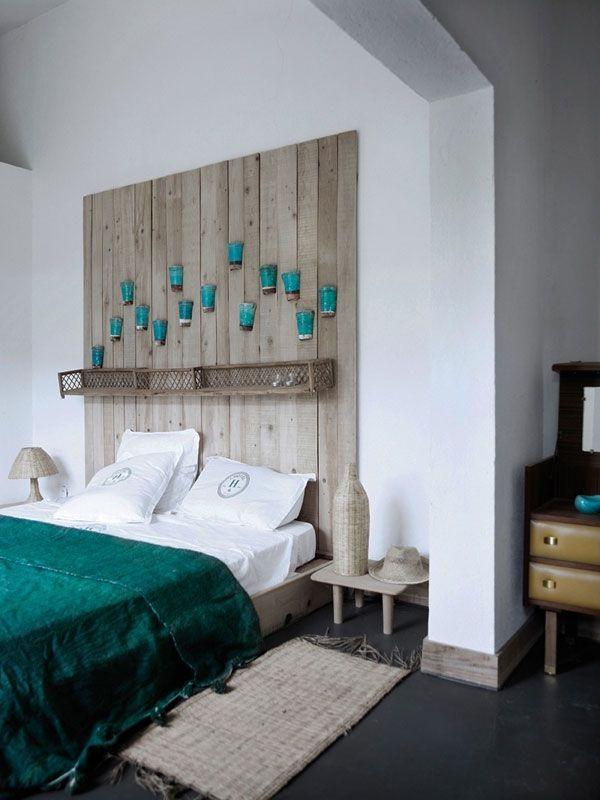 Dekoideen Schlafzimmer Wand Kopfteil Glaser Turkisfarbene