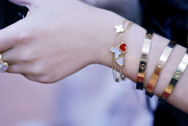 Van Cleef & Arpels + Cartier LOVEs ... FYI: NOT my wrist. It's my  wrist wish list ... LOL