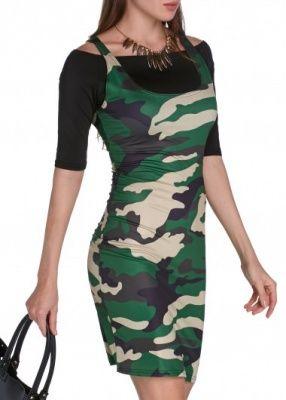 abito stampato militare con maglia spalle scoperte