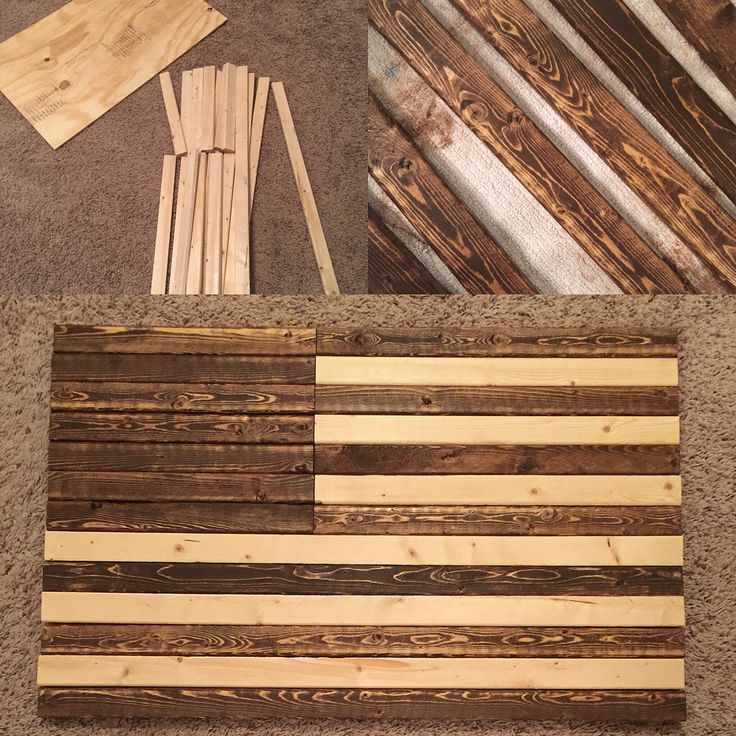 "American flag made out of wood. 19.5""x 31"" used liquid nails and clamps. Stenciled and painted the stars"