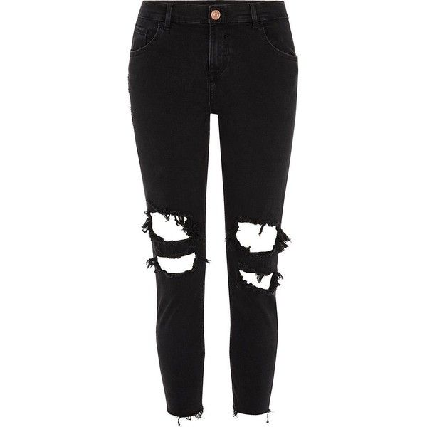 River Island Petite black Alannah ripped skinny jeans ($84) ❤ liked on Polyvore featuring jeans, pants, black, straight / slim jeans, women, super skinny ripped jeans, ripped jeans, mid rise skinny jeans, skinny jeans and distressed skinny jeans