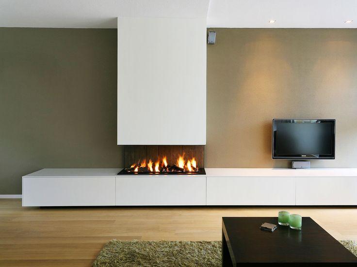 Open-hearth #fireplace design -- Bas Openhaarden Gashaard 10. Wish there was no TV!