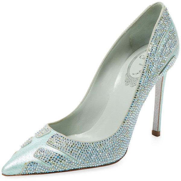 Rene Caovilla Women's Embellished Snakeskin High Heel Pump - Blue -... (865 AUD) ❤ liked on Polyvore featuring shoes, pumps, blue, high heel court shoes, snakeskin shoes, snake skin pumps, blue pumps and studded shoes