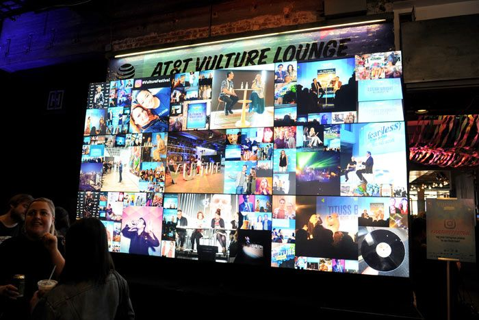 The fourth annual Vulture Festival took place May 2021 at various venues in New York. The festival's AT&T Lounge at Highline Stages, which was produced by New York magazine's experiential team along with Mary Giuliani Catering and Events, featured a social-media wall that curated real-time posts from attendees who included the festival hashtag.