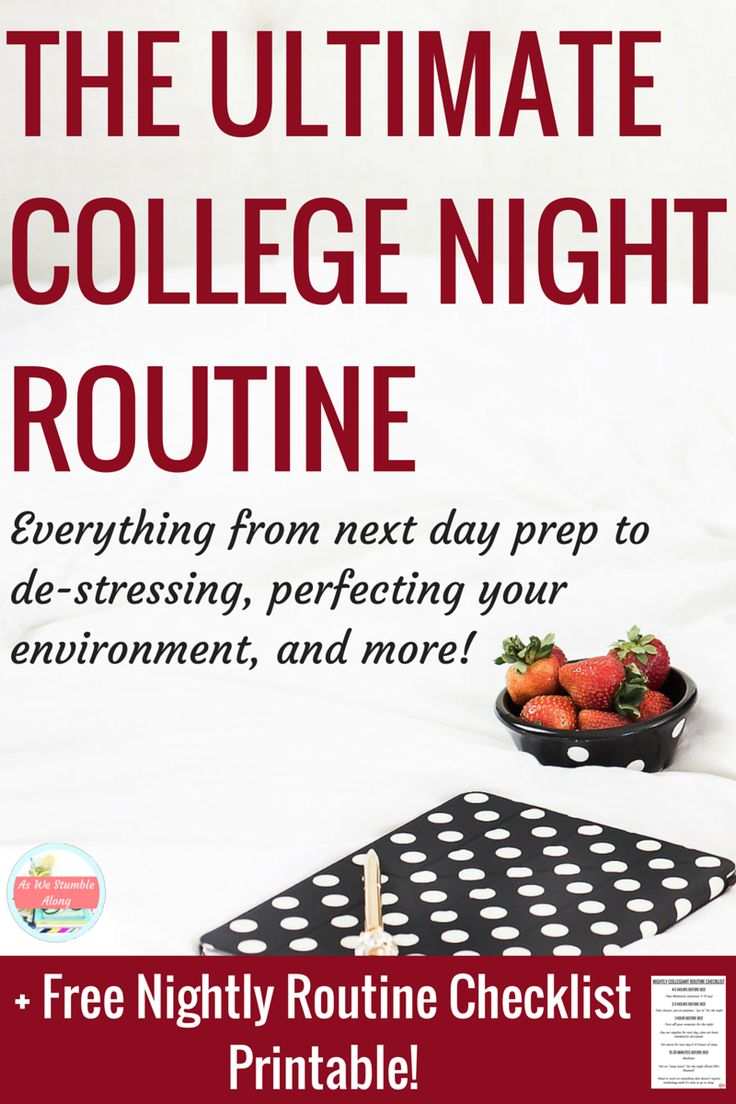 "Sure we all know know how to master your college morning routine, but what about your college night routine? How does one get to sleep in college anyway? Cause seriously..your college sleep schedule is seriously screwed. Let's not even talk about your ""college organization"" prep for the next day either. Here's how to ace your nights step by step for well rested nights and perfect mornings!"