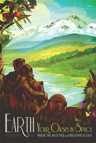 Earth - JPL Travel Poster  free NASA posters via jpg links, may go to kinko's or something to print out. so beautiful!
