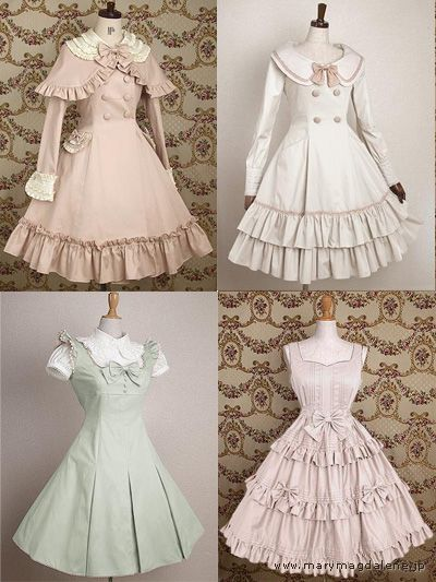 Love the green one in the lower corner and the pink coat with the frilly capelet. :)