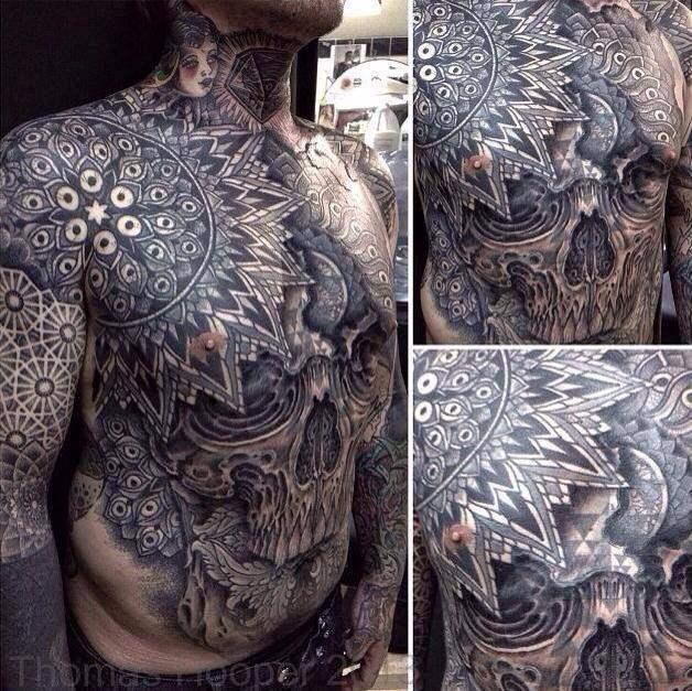 Full Chest Tattoos Skull: Chest Geometrical Mandala