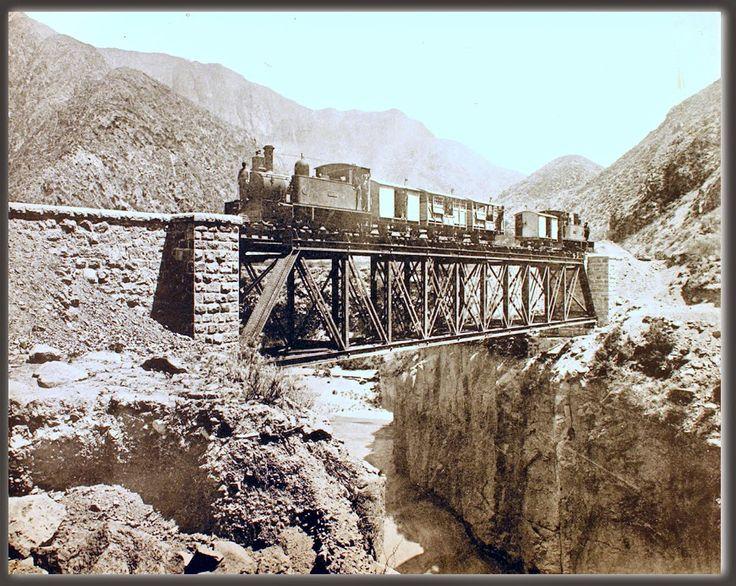 Ferrocarril Los Andes Mendoza (trasandino) Puente Caletón, 45 metros de largo. Km 36,400 de Mendoza (1907)