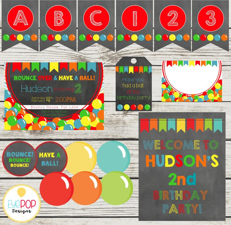 BOUNCE HOUSE Party Package, Jumping Birthday Party, Jump Party, Colorful, Chalkboard, Printable, Instant Download