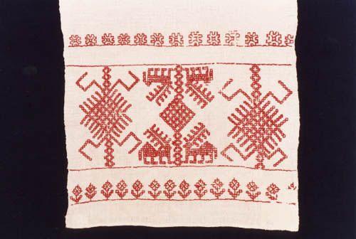 Karelian embroidery. Stitched with doube running stitch / my favourite stitch