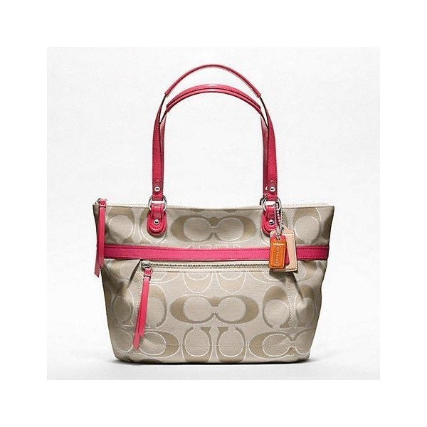 Coach Poppy Metallic Signature Sateen Small Tote ($178) ❤ liked on Polyvore
