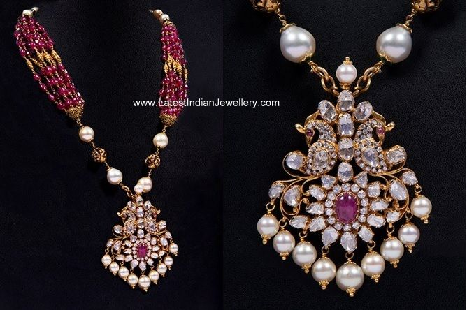Ruby Beads Mala Polki Pendant